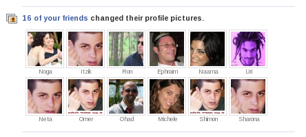 Facebook friends changing their profile picture to a photo of Gilad Shalit
