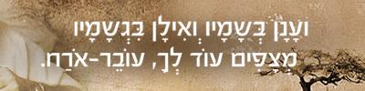 ועָנָן בְּשָמָיו ְואִילָן בִּגְשָמָיו מְצָפִים עוֹד לְךָ, עוֹבֵר-אֹרַח.