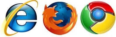 הסמלים של מיקרוסופט אינטרנט אקספלורר, פיירפוקס, וגוגל כרום